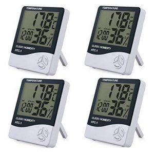 4morceaux LCD Digital Hygromètre Thermomètre innenfeuch tigkeits Contrôle Température Capteur de température Température Couteau humidité indicateur avec date heure alarme Réveil Hygromètre et support de la marque Rhinocoeu image 0 produit