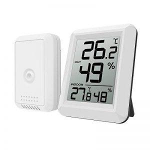 AMIR Thermomètre Hygromètre Intérieur Numérique, Hygromètre Thermomètre Extérieur Sans Fil, Grand Écran LCD, ℃/℉ Commutateur, Moniteur de Température et d'humidité Intérieur / Extérieur (Blanc) de la marque AMIR image 0 produit