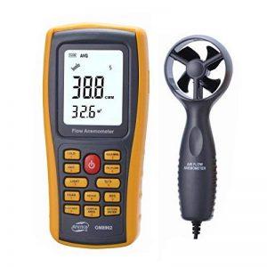 Anémomètre Numérique LCD Tester la Vitesse du Vent et la Température de l'Airavec Interface USB et Donnée pour Planche à Voile / Cerf-Volant / Vol / Surf / Pêche ( Non inclus Batteries) de la marque Amgaze image 0 produit