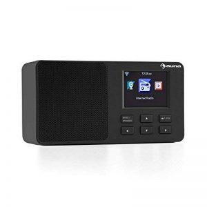 """auna IR-110 BK • Internet • numérique • Wifi • piles • enceintes • USB • AUX • Line-Out • mémoire interne • réveil • arrêt automatique • dimmable • météo • heure • TFT couleur 2,4"""" • noir de la marque Auna image 0 produit"""