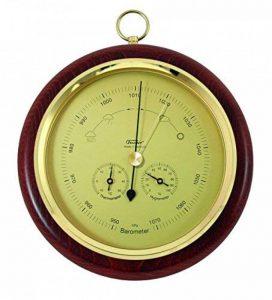 Baromètre combinée avec thermomètre et un hygromètre, véritable acajou bois, Ø 200 mm de la marque Lanami image 0 produit