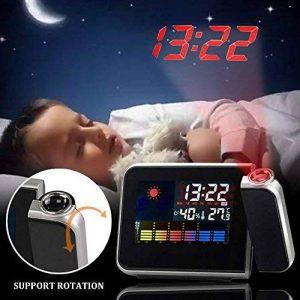 Cewaal Réveil de projection, Réveil LED numérique LCD Rétro-éclairage Snooze Station météo Réveil Éclairage de la marque Cewaal image 0 produit