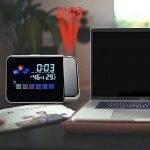 Cewaal Réveil de projection, Réveil LED numérique LCD Rétro-éclairage Snooze Station météo Réveil Éclairage de la marque Cewaal image 3 produit