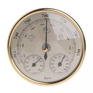 Cuigu Thermomètre Hygromètre Station météorologique de ménage 3 dans 1 pendule de hygromètre de thermomètre de baromètre (D'or) de la marque Cuigu image 0 produit