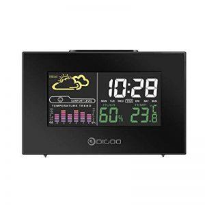 digoo dg-C3 USB Multicolore Station météo radio avecTempérature tendances humidité capteur extérieur thermomètre hygromètre hygromètre Moniteur couleur LCD écran en arrière-plan Réveil Digital Fonctio de la marque DIGOO image 0 produit
