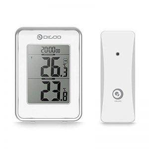 DIGOO DG-TH1980 Température Thermomètre Intérieure et Extérieure, Station Météo avec Horloge Radio et Capteur Extérieur - Fonction Temps Réveil (+ Snooze) - Blanc de la marque DIGOO image 0 produit