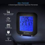 digoo th3330Digital de 3canaux IN & OUT Thermomètre Hygromètre Capteur alarme fonction snooze Station météo, hygromètre et thermomètre intérieur numérique extérieur avec réveil, grand écran LCD avec 3canaux de la marque DIGOO image 3 produit