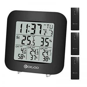 digoo th3330Digital de 3canaux IN & OUT Thermomètre Hygromètre Capteur alarme fonction snooze Station météo, hygromètre et thermomètre intérieur numérique extérieur avec réveil, grand écran LCD avec 3canaux de la marque DIGOO image 0 produit