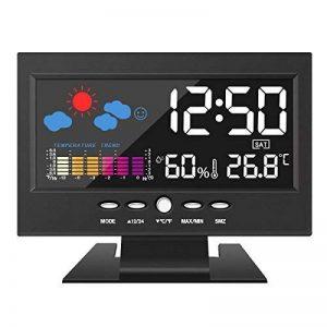 DIGOO Thermomètre Hygromètre Station Météo Horloge Heure Snooze Moniteur de voiture Contrôle Vocal Numérique LED Noir de la marque DIGOO image 0 produit