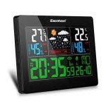 Excelvan Horloges Stations Météo avec Écran LED Intérieure/Extérieure Sans Fil avec Capteur extérieur (Baromètre) avec Alarme de la marque Excelvan image 5 produit