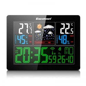 Excelvan Horloges Stations Météo avec Écran LED Intérieure/Extérieure Sans Fil avec Capteur extérieur (Baromètre) avec Alarme de la marque Excelvan image 0 produit