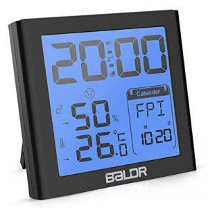 Fochea Thermomètre Hygromètre Intérieur - Thermo-hygromètre Électronique Digital Numérique LCD Rétro-Éclairage Sans Fil, Réveil/Snooze, Smiley, Mémoire Max/Min, 9.2*9.8cm(Noir) de la marque Fochea image 0 produit