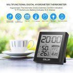 Fochea Thermomètre Hygromètre Intérieur - Thermo-hygromètre Électronique Digital Numérique LCD Rétro-Éclairage Sans Fil, Réveil/Snooze, Smiley, Mémoire Max/Min, 9.2*9.8cm(Noir) de la marque Fochea image 1 produit