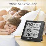 Fochea Thermomètre Hygromètre Intérieur - Thermo-hygromètre Électronique Digital Numérique LCD Rétro-Éclairage Sans Fil, Réveil/Snooze, Smiley, Mémoire Max/Min, 9.2*9.8cm(Noir) de la marque Fochea image 3 produit