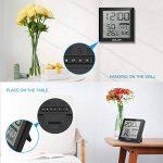 Fochea Thermomètre Hygromètre Intérieur - Thermo-hygromètre Électronique Digital Numérique LCD Rétro-Éclairage Sans Fil, Réveil/Snooze, Smiley, Mémoire Max/Min, 9.2*9.8cm(Noir) de la marque Fochea image 4 produit