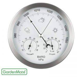 GardenMate® Station météo analogique 3 en 1 cadre en acier inox Ø 14 cm baromètre thermomètre hygromètre de la marque GardenMate® image 0 produit