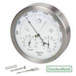 GardenMate® Station météo analogique 3 en 1 cadre en acier inox Ø 14 cm baromètre thermomètre hygromètre de la marque GardenMate® image 1 produit
