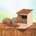 Gardigo Mangeoire pour écureuil, Toit ouvrant; maison, bar, distributeur de nourriture en bois pour plusieurs animaux; facile à remplir, nettoyer de la marque Gardigo image 3 produit