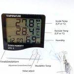 Grand affichage Thermomètre à température numérique Thermomètre Moniteur de confort à la maison Moniteur extérieur intérieur avec réveil noir de la marque STAR image 1 produit