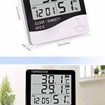 Grand affichage Thermomètre à température numérique Thermomètre Moniteur de confort à la maison Moniteur extérieur intérieur avec réveil noir de la marque STAR image 2 produit
