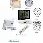 Grand affichage Thermomètre à température numérique Thermomètre Moniteur de confort à la maison Moniteur extérieur intérieur avec réveil noir de la marque STAR image 3 produit