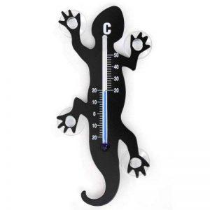HAB & GUT TG001 - Noir Thermomètre de Fenêtre Gecko de Métal, 14 cm avec 4 ventouses puissantes pour Fixation intérieure ou extérieure de la marque HAB & GUT image 0 produit