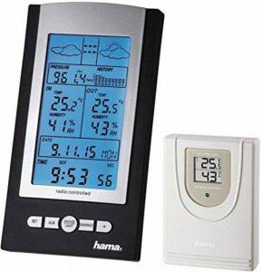 Hama Station Météo Sans Fil Ews-800 (Horloge Radio, Thermomètre, Hygromètre et Baromètre, Capteur Extérieur Inclus avec Portée de 100 M), Noire de la marque Hama image 0 produit