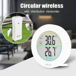 HOCOSY Thermomètre intérieur/extérieur, Détection de Température LCD Digital sans Fil Max/Min Rond Blanc de la marque HOCOSY image 4 produit