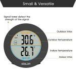 HOCOSY Thermomètre intérieur/extérieur, Détection de Température LCD Digital sans Fil Max/Min Rond Noir de la marque HOCOSY image 2 produit