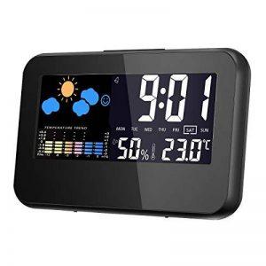 Hygrometre Electronique,GLISTENY Numérique Thermomètre avec LCD Digital ,Station Meteo avec Horloge Numérique et Réveil, Calendrier, Rétroéclairage de Contrôle Vocal de la marque Glisteny image 0 produit