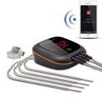 Inkbird IBT-4XS Cuisine Thermometre Sans Fil avec avec Assemblage Magnétique,Batterie en Aluminium Intégrée 1000mAh, Rotation de Ecran,Thermometre Exterieur pour Four Barbecue Electrique Fumoir Viande (Inkbird IBT-4XS Thermometre + 4 Sondes) de la marque image 1 produit