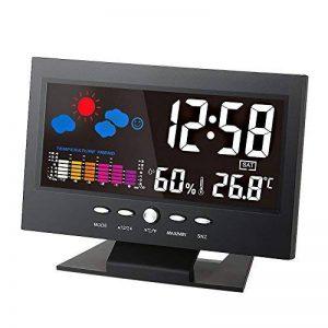 KKmoon ° C / ° F Multifonctions Intérieur LCD Coloré Température Numérique Humidimètre Station Météo Horloge Thermomètre Hygromètre Niveau de Confort Prévision Météo Rétroéclairage avec Câble USB de la marque KKmoon image 0 produit