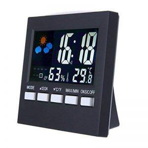 KKmoon Numérique Affichage Thermomètre Humidité Horloge Coloré Intérieur Extérieur Température Moniteur Alarme LCD Alarme Calendrier Météo avec Snooze Fonction de la marque KKmoon image 0 produit