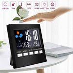 KKmoon Numérique Affichage Thermomètre Humidité Horloge Coloré Intérieur Extérieur Température Moniteur Alarme LCD Alarme Calendrier Météo avec Snooze Fonction de la marque KKmoon image 4 produit