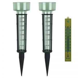 Lantelme 6491Lot de 2Stk Pluviomètre en vert avec piquet et 1Stk Thermomètre de jardin avec affichage de la température analogique -30à + 50°C de la marque Lantelme image 0 produit