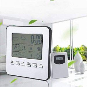 LCD multifonction sans fil Station météo avec capteur extérieur Fonction réveil calendrier, intérieur et extérieur Horloge Prévisions Météo avec support Thermomètre Hygromètre Baromètre de la marque LESHP image 0 produit