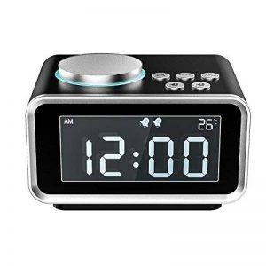 MoKo Réveil numérique, multifonctionnel Radio FM double alarme Table chevet horloge LCD affichage avec 2 USB chargeur, Snooze / Dimmer contrôle / Thermomètre intérieur pour chambre à coucher, Noir de la marque MoKo image 0 produit