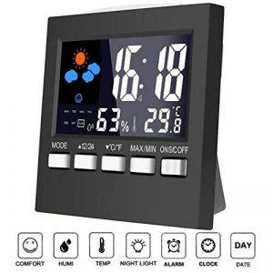 Moniteur d'humidité de thermomètre, affichage coloré d'affichage à cristaux liquides Humidimètre de Digital avec le réveil, date, fonction de rétro-éclairage de contrôle de son de la marque Flash Turtle image 0 produit