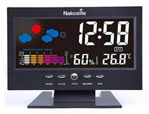 Nakosite HUM2433 Station Meteo Couleur Interieur Temperature Thermomètre Hygromètre bebe Humidimetre maison. Fonctionne comme horloge, calendrier et réveil, pour la maison, le bureau, etc. Écran plat COULEUR, nouvelle technologie, utilisé soit avec un câb image 0 produit