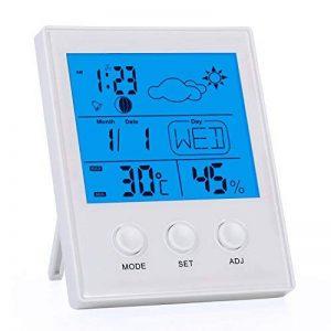 Omasi Thermomètre Hygromètre, Thermomètre Interieur Numérique à écran LCD, Moniteur de Température et D'humidité Avec Enregistrements MIN/MAX,°C/°F, Date, Météo, Heure, Blanc de la marque Omasi image 0 produit