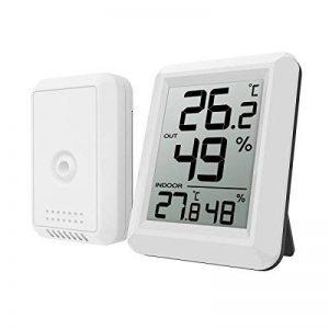 Oria Station Météo, Thermomètre Hygromètre Digital Intérieur et Etérieur, Fahrenheit Celsius Thermomètre avec Remote Sensor sans Fil, 60s Auto Refresh pour Maison, Bureau - Blanc de la marque Oria image 0 produit