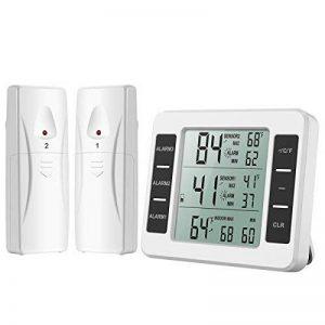 Oria Thermomètre de Réfrigérateur avec 2 Capteurs sans Fil, Thermomètre Digital pour Frigo avec Alarme Sonore, Station Météo, Indoor Temperature Monitor avec Max/Min Record, pour Maison, Restaurants de la marque Oria image 0 produit