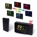 Radio Réveil à Projection, Protmex Horloge d'alarme de projection numérique avec la station météorologique de température, Thermomètre intérieur/extérieur, affichage à cristaux liquides réglable, charge d'USB, double alarme de la marque Protmex image 1 produit
