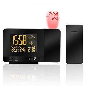 Radio Réveil à Projection, Protmex Horloge d'alarme de projection numérique avec la station météorologique de température, Thermomètre intérieur/extérieur, affichage à cristaux liquides réglable, charge d'USB, double alarme de la marque Protmex image 0 produit