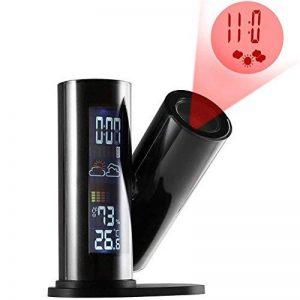 Reveil Projecteur Horloge Réveil Alarme Hygromètre et Thermomètre Horloge Murale avec Projection Rotative 360 Degrés de la marque Sun image 0 produit