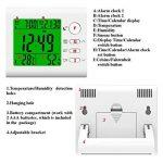 Roquet Thermomètre digital hygromètre humidité Capteur de température pièce Thermo-hygromètre Mètre Jauge d'humidité Thermomethers moniteur avec 2Réveil, affichage de l'heure, calendrier, grande LCD pour un confort de la maison, au bureau, serre, voiture image 2 produit