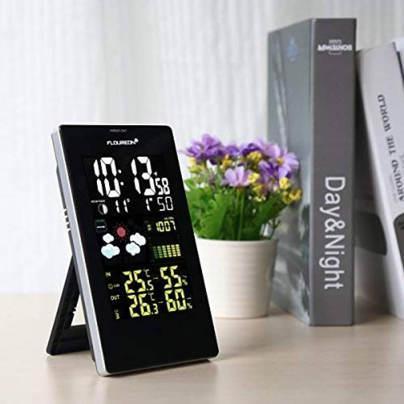 622d1c404277f8 FLOUREON Station Météo Thermomètre Hygromètre sans Fils Intérieur   Extérieur  Avec Ecran LCD Couleur et Sonde de la marque FLOUREON