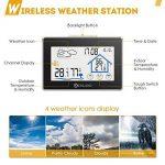 Station météo, DIGOO DG-TH8380LED Station Météo Intérieure/Extérieure avec Sans Fil Capteur , Thermomètre Hygromètre Moniteur Température Humidité LCD Digital Noir de la marque DIGOO image 3 produit