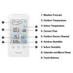 Station Météo,iado Station Météo Intérieure/Extérieure avec Sans Fil Capteur, Thermomètre Hygromètre Moniteur Température Humidité LCD Digital (Blanc) de la marque iado image 1 produit