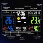 Station Météo Intérieure Extérieure Sans Fil, Houzetek Horloge Température Thermomètre Hygromètre à Affichage LCD et Alignement Vertical Numérique Ecran Couleur Réveil Thermomètre Radio Professionnelle 12 Icônes de phases de lune de la marque Houzetek image 2 produit